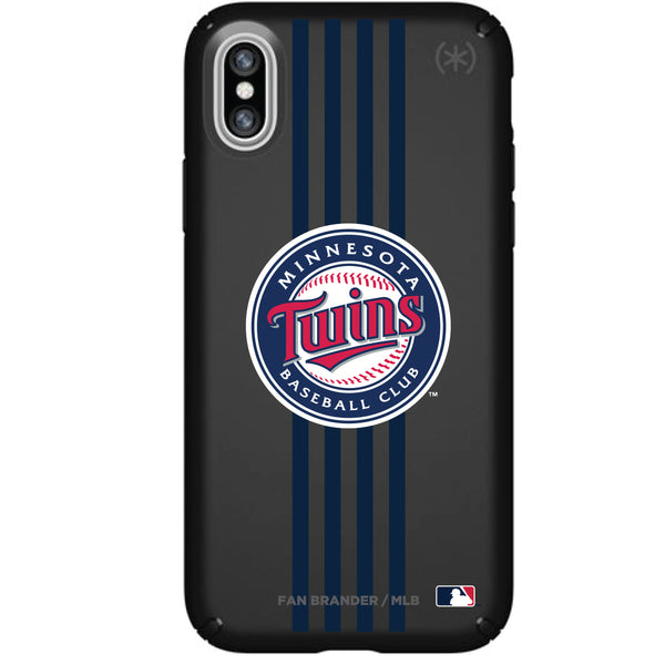Speck Black Presidio Series Phone case with Minnesota Twins Primary Logo with Vertical Stripes