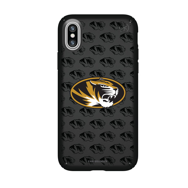 Speck Black Presidio Series Phone case with Missouri Tigers Primary Logo on Repeating Wordmark Background