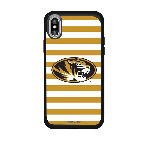 Speck Black Presidio Series Phone case with Missouri Tigers Primary Logo and Striped Design