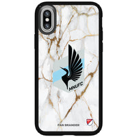 Speck Black Presidio Series Phone case with Minnesota United FC White Marble Background