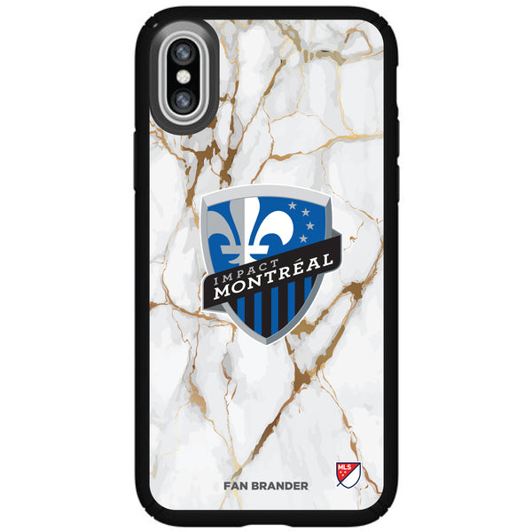 Speck Black Presidio Series Phone case with Montreal Impact White Marble Background