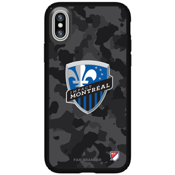 Speck Black Presidio Series Phone case with Montreal Impact Urban Camo Background