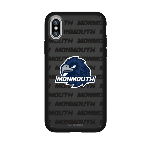 Speck Black Presidio Series Phone case with Monmouth Hawks Primary Logo on Repeating Wordmark Background