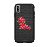 Speck Black Presidio Series Phone case with Mississippi Ole Miss Primary Logo on Repeating Wordmark Background