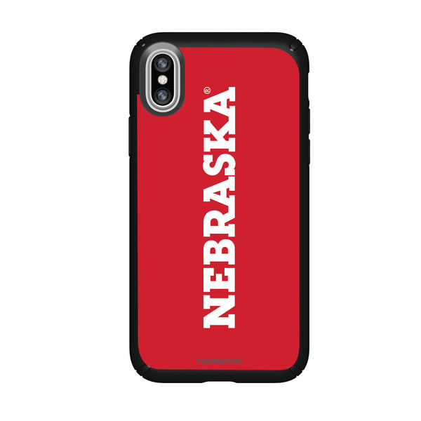Speck Black Presidio Series Phone case with Nebraska Cornhuskers Wordmark Design