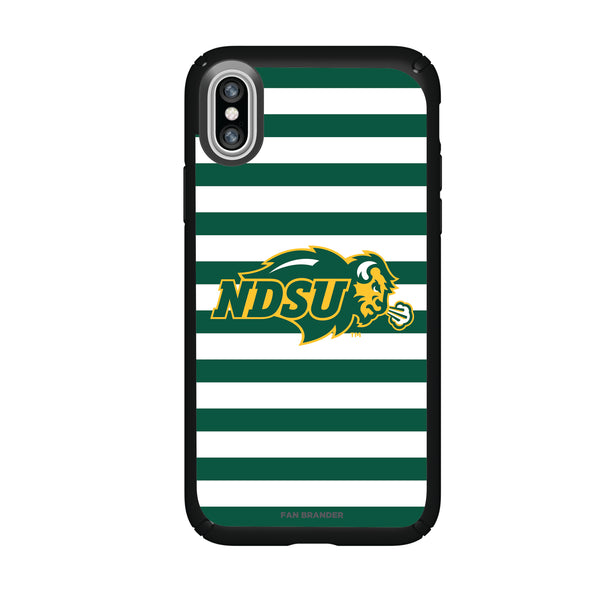 Speck Black Presidio Series Phone case with North Dakota State Bison Primary Logo and Striped Design