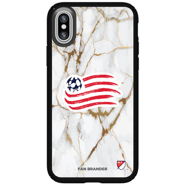 Speck Black Presidio Series Phone case with New England Revolution White Marble Background