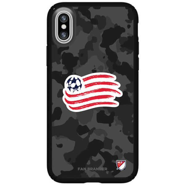 Speck Black Presidio Series Phone case with New England Revolution Urban Camo Background