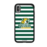 Speck Black Presidio Series Phone case with Northern Michigan University Wildcats Primary Logo and Striped Design