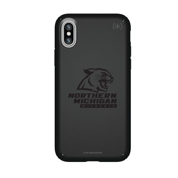 Speck Black Presidio Series Phone case with Northern Michigan University Wildcats Primary Logo in Black