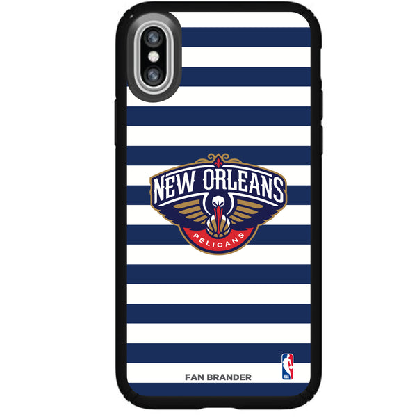 Speck Black Presidio Series Phone case with New Orleans Pelicans Striped Design