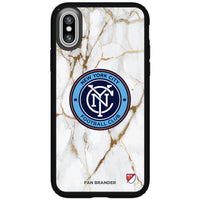 Speck Black Presidio Series Phone case with New York City FC White Marble Background