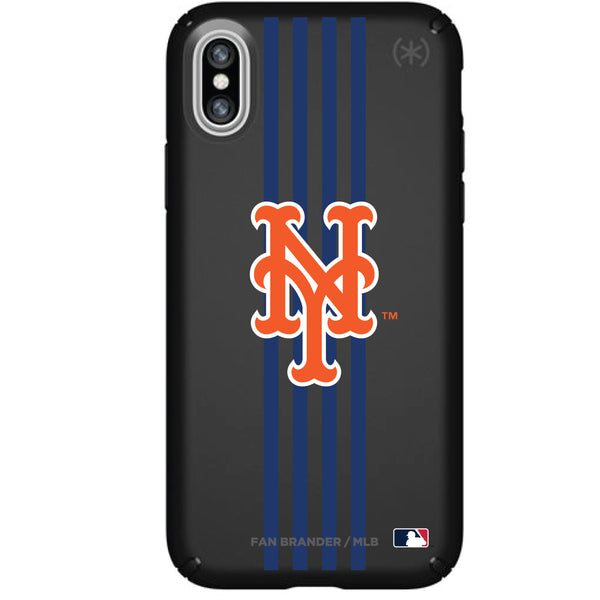 Speck Black Presidio Series Phone case with New York Mets Primary Logo with Vertical Stripes