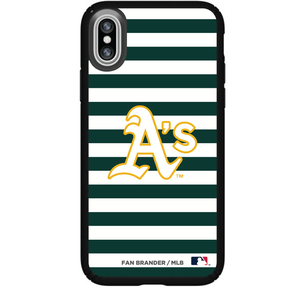 Speck Black Presidio Series Phone case with Oakland Athletics Striped Design