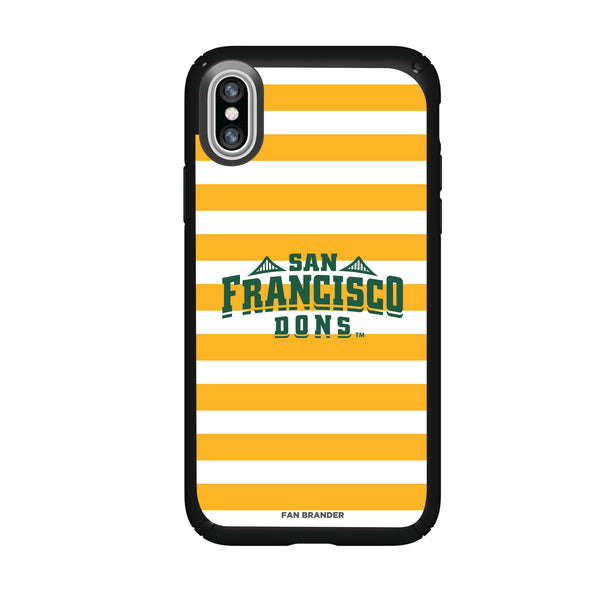Speck Black Presidio Series Phone case with San Francisco Dons Primary Logo and Striped Design