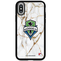 Speck Black Presidio Series Phone case with Seatle Sounders White Marble Background