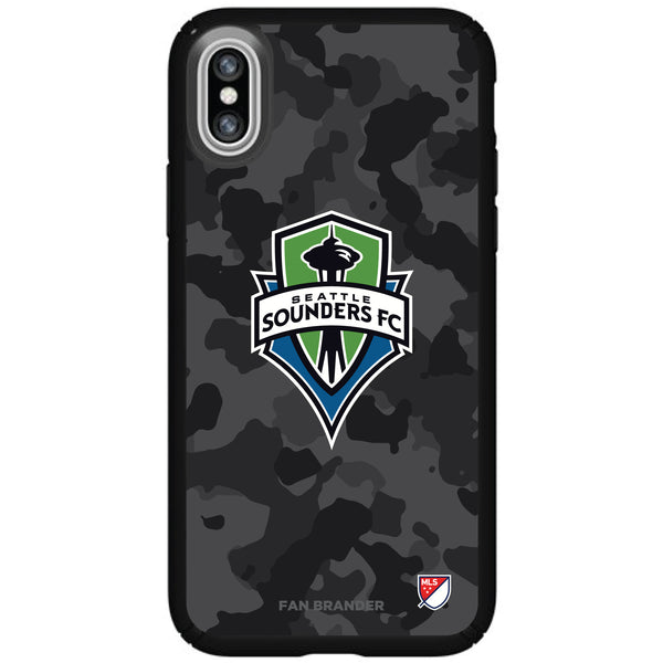 Speck Black Presidio Series Phone case with Seatle Sounders Urban Camo Background