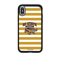 Speck Black Presidio Series Phone case with San Francisco State U Gators Primary Logo and Striped Design