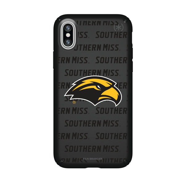 Speck Black Presidio Series Phone case with Southern Mississippi Golden Eagles Primary Logo on Repeating Wordmark Background
