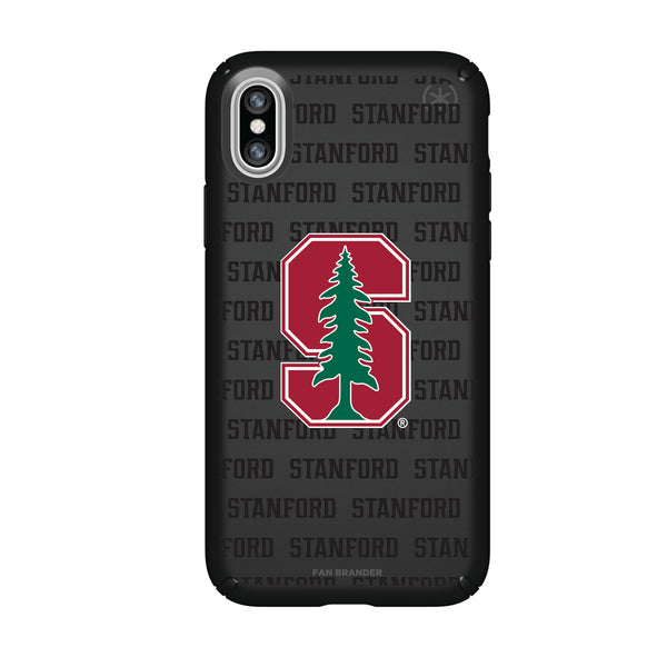 Speck Black Presidio Series Phone case with Stanford Cardinal Primary Logo on Repeating Wordmark Background