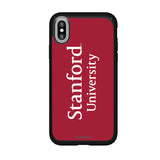 Speck Black Presidio Series Phone case with Stanford Cardinal Wordmark Design