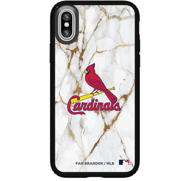 Speck Black Presidio Series Phone case with St. Louis Cardinals Primary Logo with White Marble