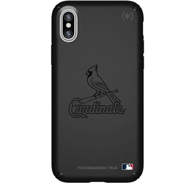 Speck Black Presidio Series Phone case with St. Louis Cardinals Primary Logo in Black