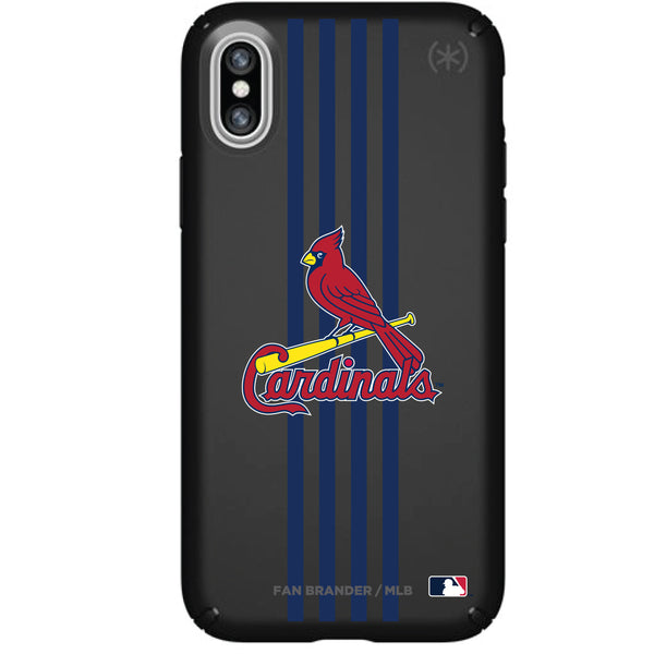 Speck Black Presidio Series Phone case with St. Louis Cardinals Primary Logo with Vertical Stripes