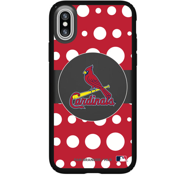 Speck Black Presidio Series Phone case with St. Louis Cardinals Primary Logo with Polka Dots