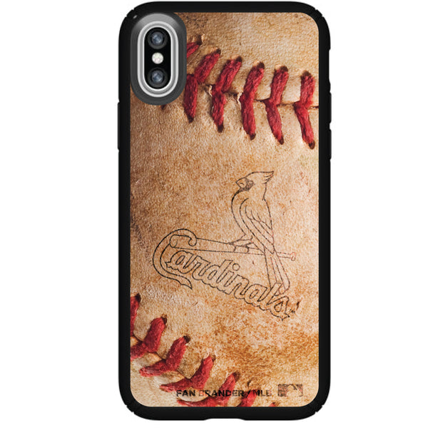 Speck Black Presidio Series Phone case with St. Louis Cardinals Primary Logo with Baseball Design