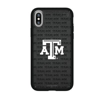 Speck Black Presidio Series Phone case with Texas A&M Aggies Primary Logo on Repeating Wordmark Background