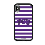 Speck Black Presidio Series Phone case with Texas Christian University Horned Frogs Primary Logo and Striped Design