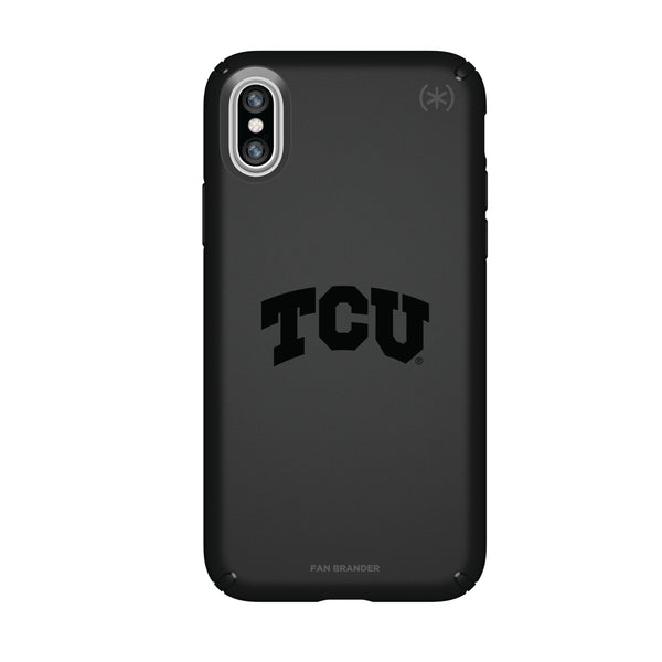 Speck Black Presidio Series Phone case with Texas Christian University Horned Frogs Primary Logo in Black
