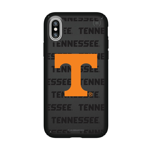 Speck Black Presidio Series Phone case with Tennessee Vols Primary Logo on Repeating Wordmark Background