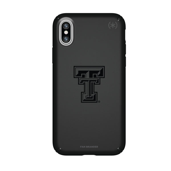 Speck Black Presidio Series Phone case with Texas Tech Red Raiders Primary Logo in Black