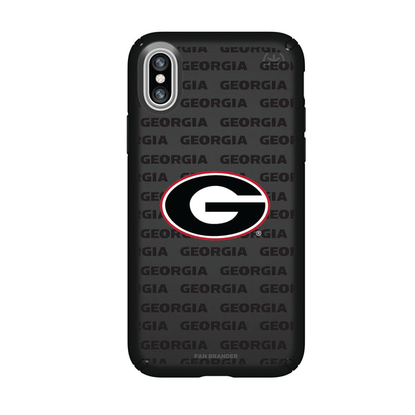 Speck Black Presidio Series Phone case with Georgia Bulldogs Primary Logo on Repeating Wordmark Background