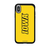 Speck Black Presidio Series Phone case with Iowa Hawkeyes Wordmark Design