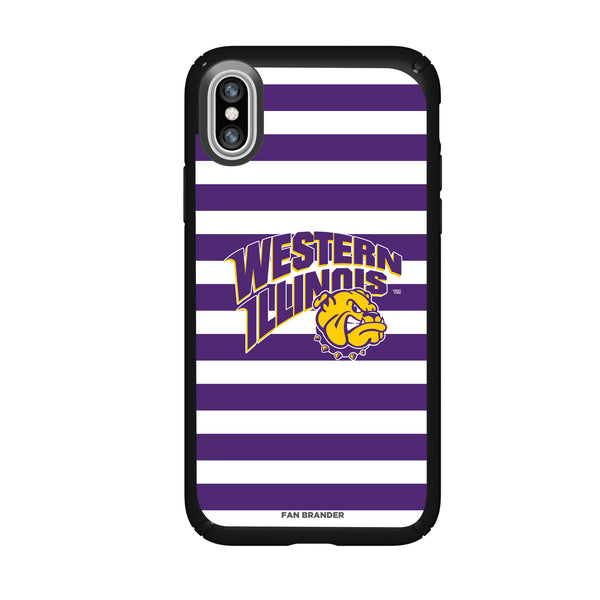 Speck Black Presidio Series Phone case with Western Illinois University Leathernecks Primary Logo and Striped Design