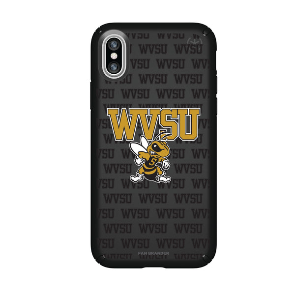 Speck Black Presidio Series Phone case with West Virginia State Univ Yellow Jackets Primary Logo on Repeating Wordmark Background
