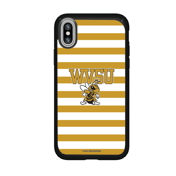 Speck Black Presidio Series Phone case with West Virginia State Univ Yellow Jackets Primary Logo and Striped Design