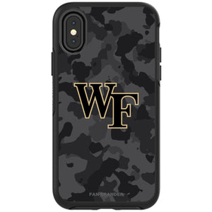 OtterBox Black Phone case with Wake Forest Demon Deacons Urban Camo background