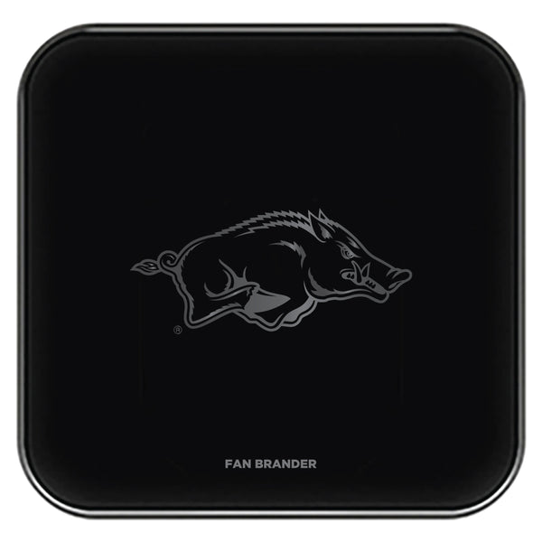Fan Brander Fast Charging Wireless Charger with Arkansas Razorbacks laser etched Primary Logo