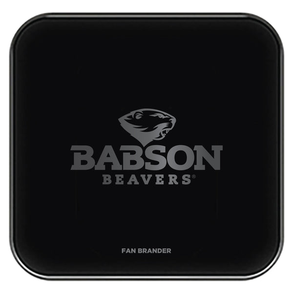 Fan Brander Fast Charging Wireless Charger with Babson University laser etched Primary Logo