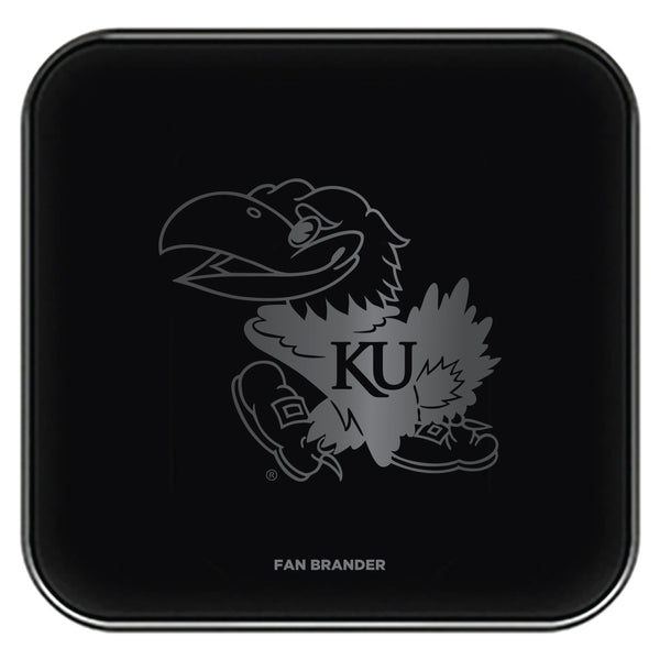 Fan Brander Fast Charging Wireless Charger with Kansas Jayhawks laser etched Primary Logo