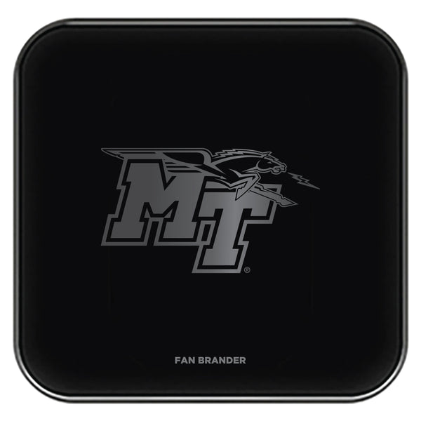 Fan Brander Fast Charging Wireless Charger with Middle Tennessee State Blue Raiders laser etched Primary Logo