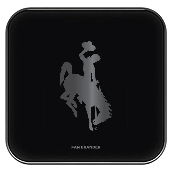 Fan Brander Fast Charging Wireless Charger with Wyoming Cowboys laser etched Primary Logo