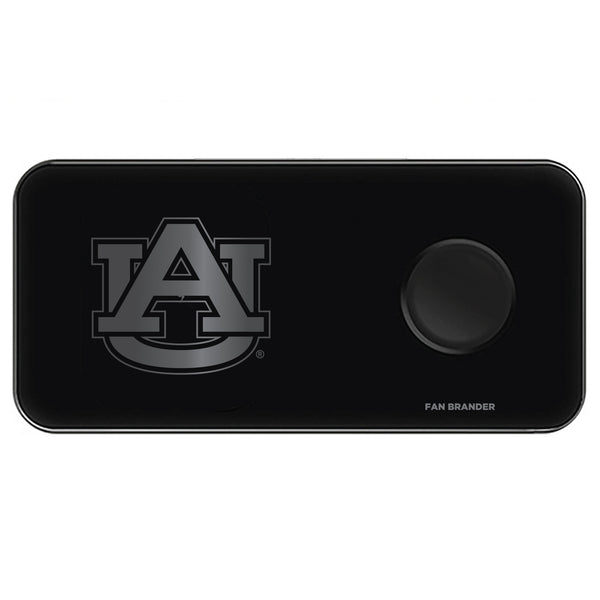 Fan Brander 3 in 1 Glass Wireless Charger with Auburn Tigers laser etched Primary Logo