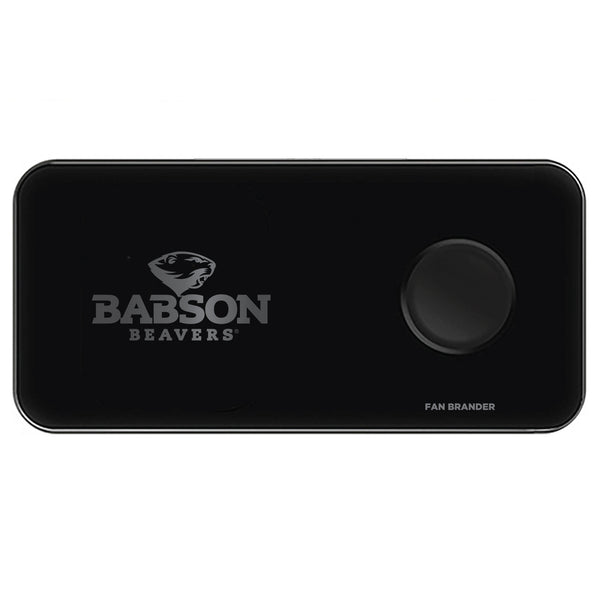 Fan Brander 3 in 1 Glass Wireless Charger with Babson University laser etched Primary Logo