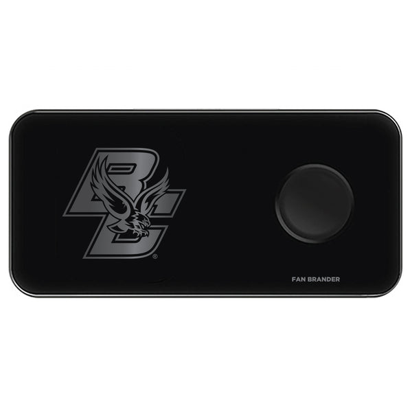 Fan Brander 3 in 1 Glass Wireless Charger with Boston College Eagles laser etched Primary Logo