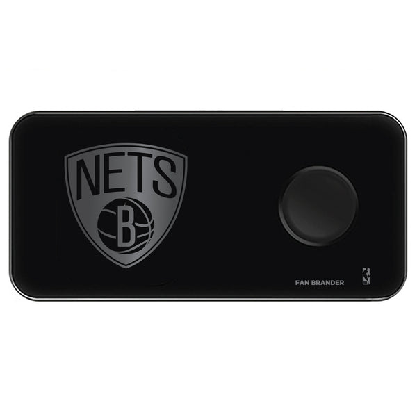Fan Brander 3 in 1 Glass Wireless Charger with Brooklyn Nets laser etched Primary Logo